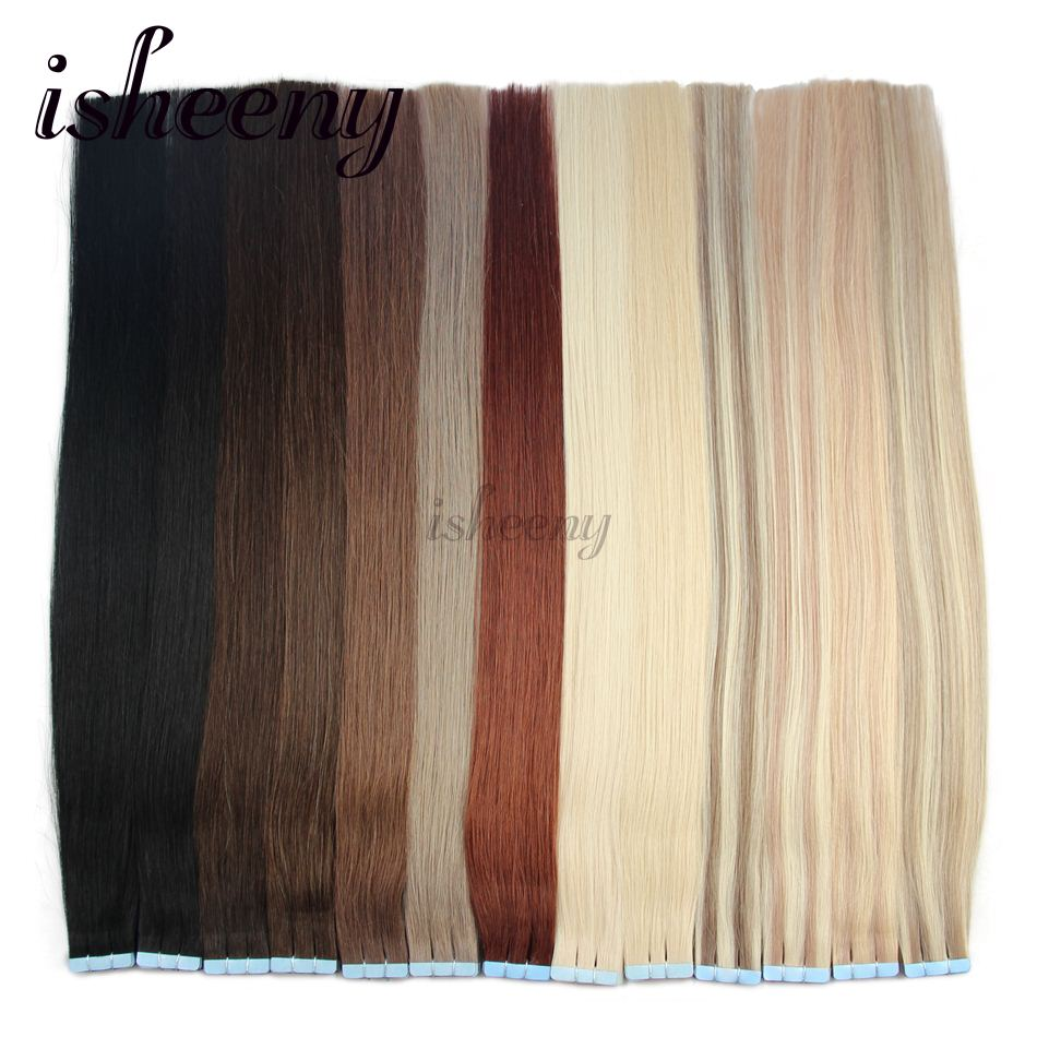 Isheeny Remy Human Hair On Tape 20 Inches Seamless Hair Extensions Straight Hair Bundle Tape In Hair Extensions 20 pieces