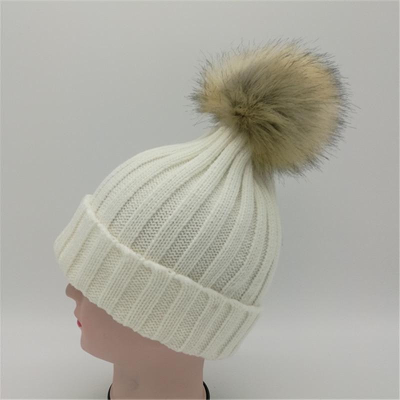 Enfants fille naturel pompon bonnet cap hiver chaud crochet beanie avec  fourrure pom,poms boule