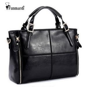 Image 1 - FUNMARDI Luxury Handbags Women Bags Designer Split Leather Bags Women Handbag Brand Top handle Bags Female Shoulder Bags WLHB974