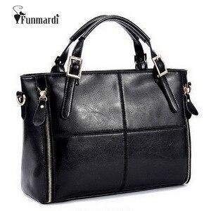 Image 1 - Funmardi高級ハンドバッグ女性のバッグデザイナー分割革バッグ女性ハンドバッグブランドトップハンドルバッグ女性ショルダーバッグWLHB974