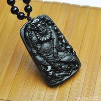 free shipping Natural black obsidian lock ghost zhong kui pendant chinese god