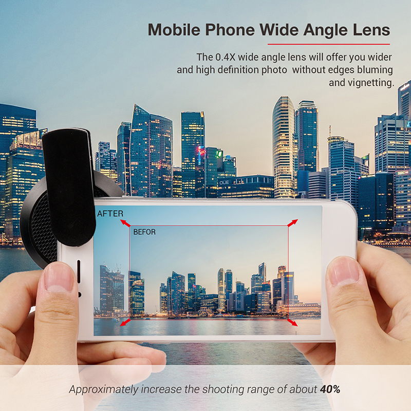 TURATA 2 in 1 HD Phone Len 52mm Calibre 37mm Kit Super 0.45X Wide Angle+15X Macro Clip-on Phone Camera Lens for Smartphone 5