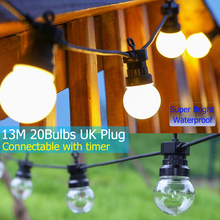 купить 10M 20LEDs Timer Function Globe Bulb String Light Festoon Party Ball Outdoor Waterproof LED Party Hanging Camping Decor D20 дешево