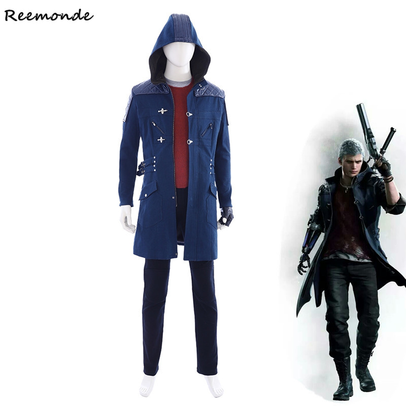 Game Devil May Cry 5 Nero Cosplay Costumes PU Leather Winter Trench Jackets Top Pants Full Set For Men Boys Windbreaker Clothing