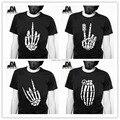 2014 fasion de verano hombres camiseta de punk rock camisetas nueva camiseta esqueleto esqueleto cráneo dedos disigner diseño original camisa luminosa