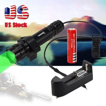 300 Lm Q5 Green LED Flashlight Torch Tactical Light Hunting Lanterna Camping Lamp +Mount +18650 Battery +Remote Pressure Switch 800lm hunting flashlight xml t6 led torch light portable tactical flashlight camping torch mount remote switch 18650 battery