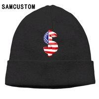 SAMCUSTOM bandiera Americana segno di dollaro Stampa 3D Uomini Neutri Donne Cappuccio del Cappotto di Cachemire Casuale Caldo Skullies cappellini Moda Cappello di Lana
