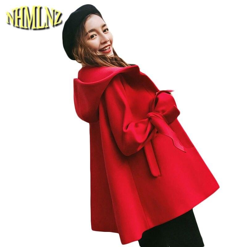 Court Laine Manteau Capuche Black Style Slim Survêtement Wun848 À red 2019 Nouvelles Coréenne Veste Mode Femmes Vent Lâche D'hiver De 7qB57xR