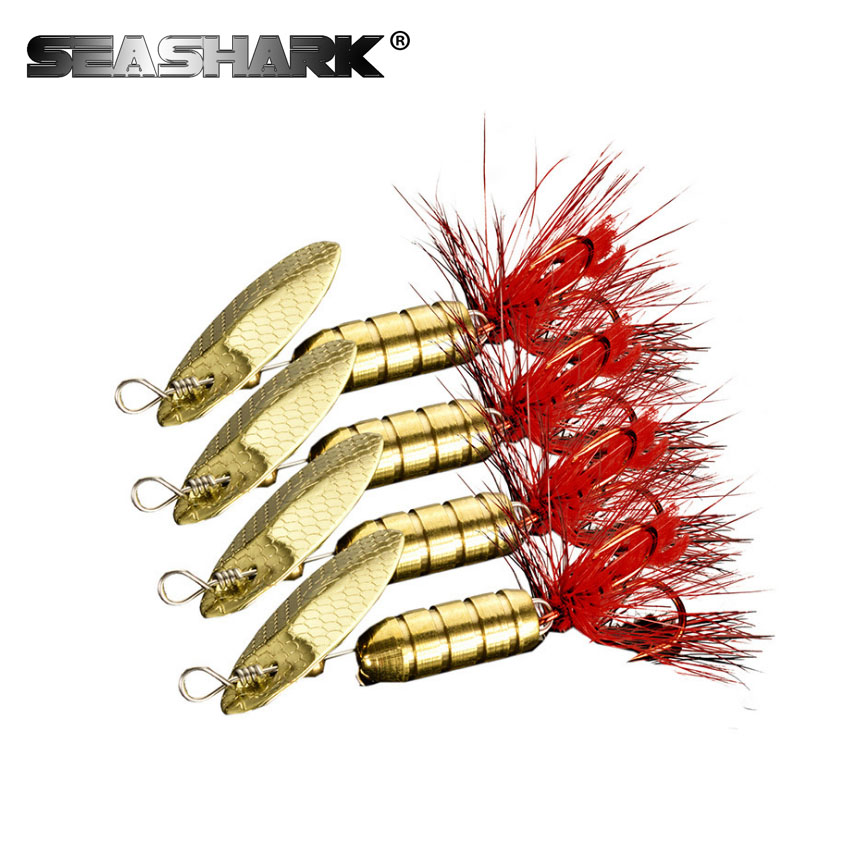 SEASHARK 4pcs/Set  Fishing Spinner Spoon Bait Sinking Bass Perch Metal Lures Spinnerbait Tackle Artificial Casting Lead Jig Head toma spoon metal fishing lures lead fish 80g sinking bait metal jigging lure artificial bait bass lure fishing tackle