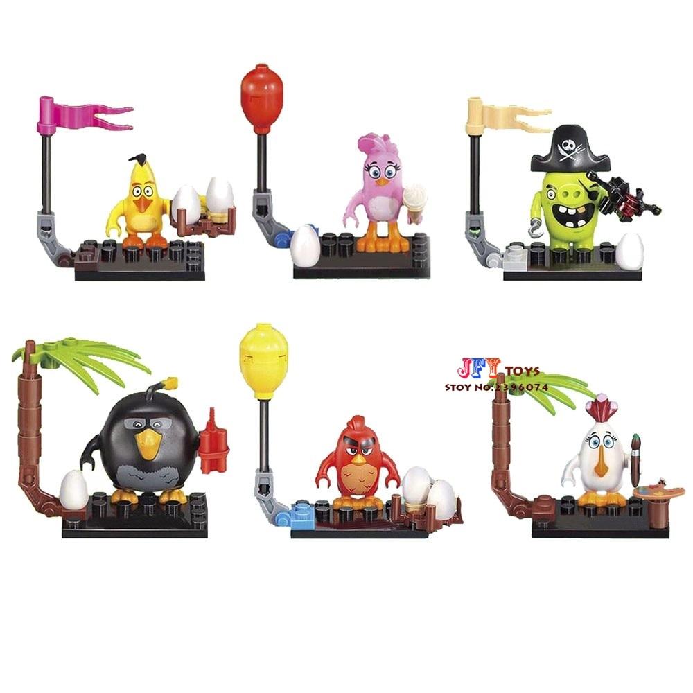 6pcs star wars super heroes marvel Birds Cartoon Cute Crazy Movie building blocks model bricks toys for children juguetes