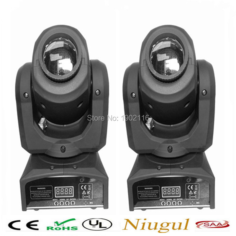 купить  2pcs/lot 10W Spot moving head light DMX effect stage light disco dj lighting 10w led patterns light for KTV Bar club design lamp  онлайн