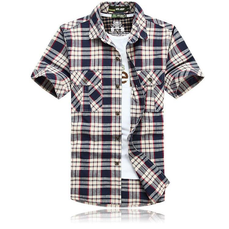 3XL 4XL 5XL 2015 Summer Plaid Men Cotton Short Sleeve Dress Shirts Camisa Hombre Patchwork Blouse Vestido Men Clothes Casual (1)
