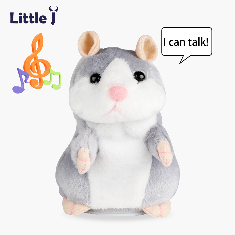 Little J Cute Red Nose Talking Hamster Mouse Toy Funny Interactive Repeated Sounding Plush Hamster Speak Toys Christmas Gift creative kids talking hamster electronic pet toy 1pc