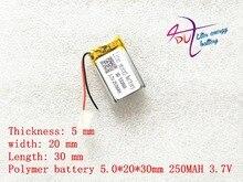 (Envío gratis) batería de iones de litio 502030 3,7 V 250 mah, calidad de los productos de iones, certificación CE FCC ROHS