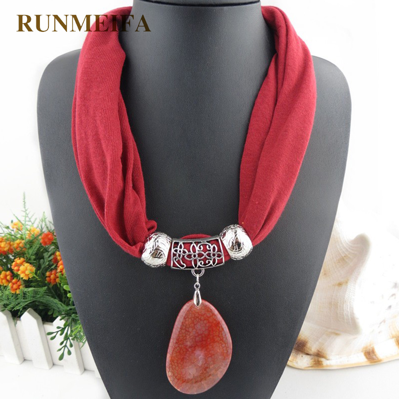 RUNMEIFA High Quality natural stone Pendants scarf& necklaces Jewelry pendant scarf 10 colors simple design shawl Free shipping