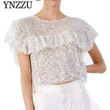 YNZZU Mesh Sequin Chic Women Tops 2019 Summer Sexy Transparent O Neck Short Sleeve White T-Shirt Ruffles Loose Shirt YT578