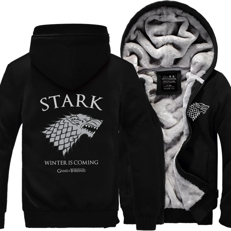 Game of Thrones Casa Stark Felpa Felpe Uomini 2018 Nuovo Panno Morbido di Inverno Caldo di Spessore della Chiusura Lampo del Cappotto di Abbigliamento Sportivo Plus Size Felpa Con Cappuccio 5XL