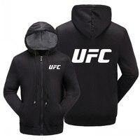 MMA UFC Coat Sportwear Cashmere Sweatshirts Zipper Hoodie Mens Cotton Jacket Thick Warm Coat Men