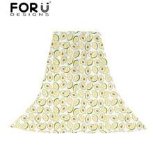 FORUDESIGNS Cartoon Fruit Printing Scarves Women Avocado Pattern Slik Scarf Ladies Cute Beach Towel Sun Protection for Females цена в Москве и Питере