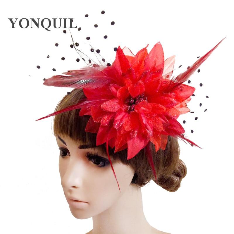 Women/'s Fascinator Hats Red HL75