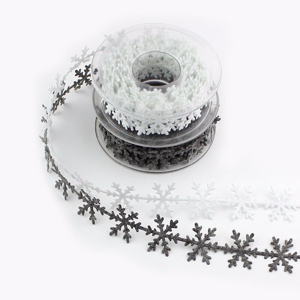 HUADODO 1 רול (5 מטר) ''שאינו ארוג חג המולד snowflake לקצץ סרט עץ חדש שנה קישוט Scrapbook DIY אביזרים
