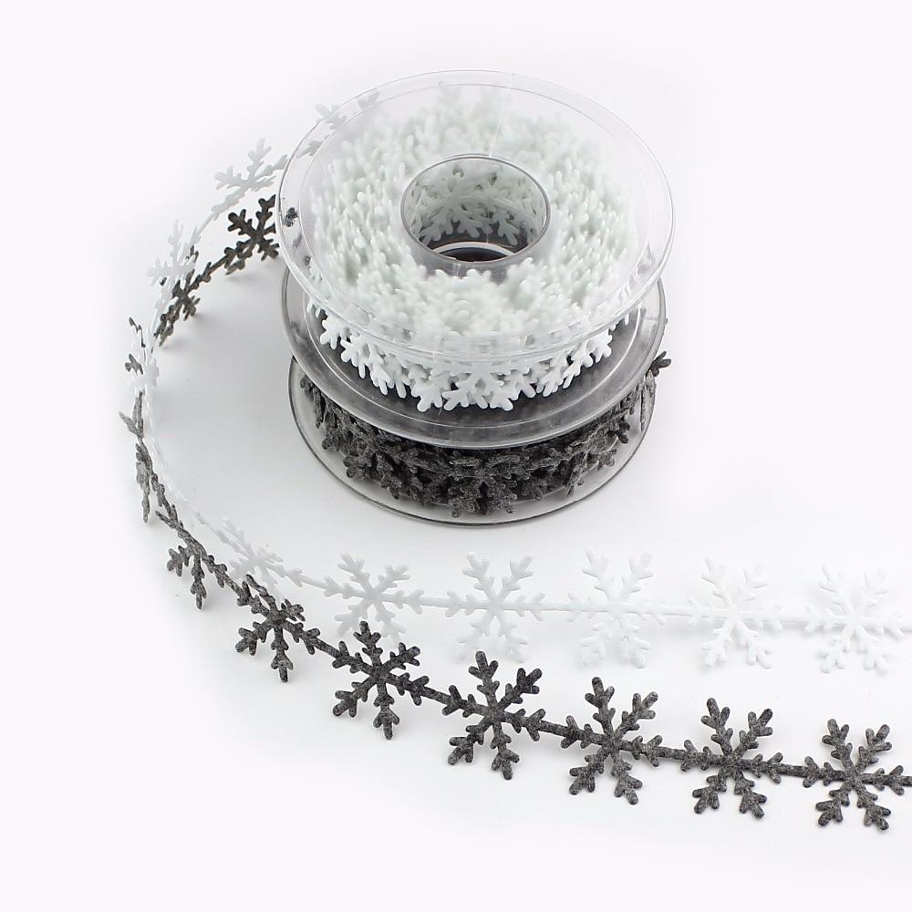 HUADODO 1roll (5meters) 1''25mm Non-woven Christmas snowflake Trim Ribbon  Tree New Year Decoration Scrapbook DIY Accessories