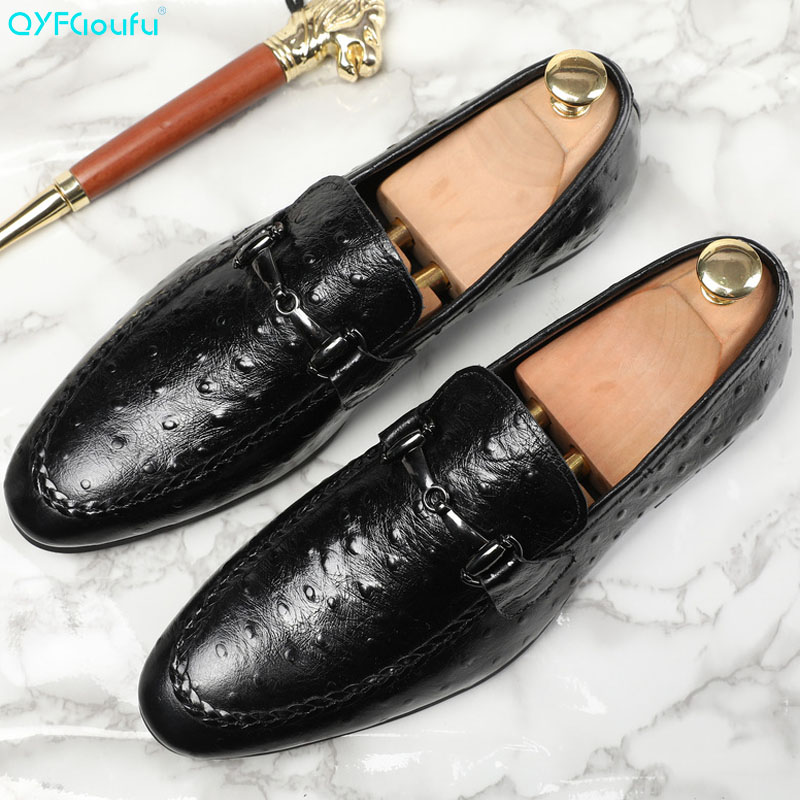 QYFCIOUFU 2019 New Arrival Formal Man Dress Shoes Luxury Designers Genuine Leather Handmade Ostrich Pattern Casual