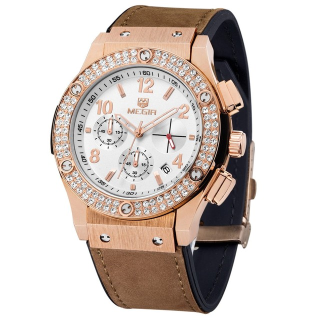 MEGIR Casual Mens Watch Dress Rose Gold Diamond Crystal Watch