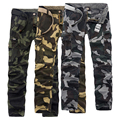 New 2016 trousers high quality men's fashion casual solid color comfortable Slim washed clean Camouflage tooling casual trousers