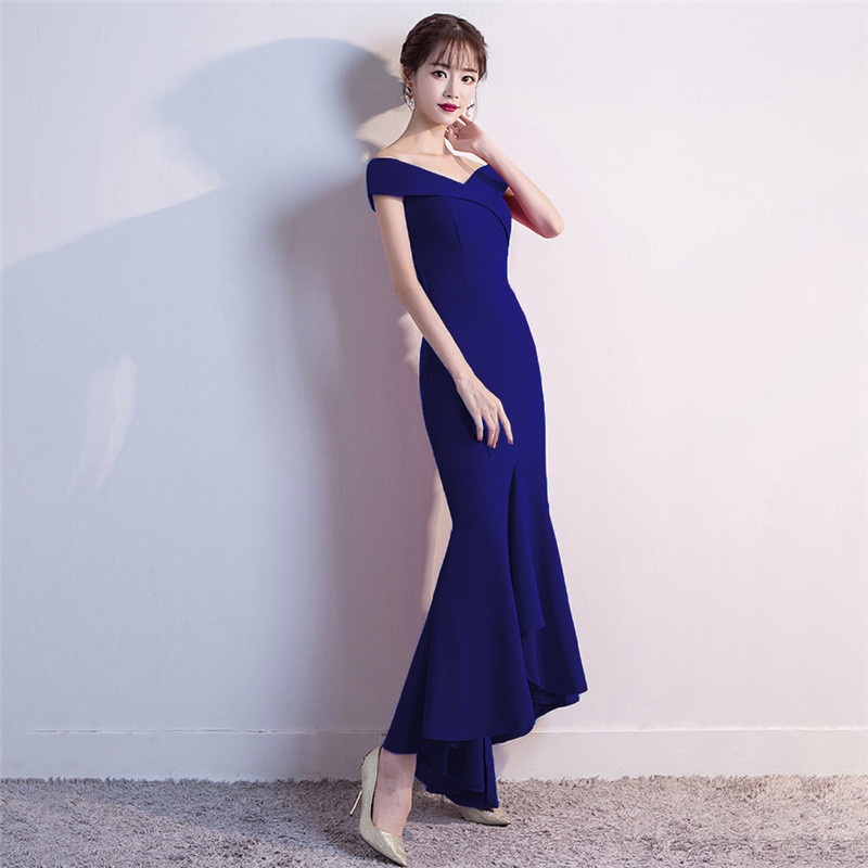 It's Yiiya evening gowns Zipper back Boat Neck short sleeve party dresses Elegant Floor-length Backless trumpet Prom dress C149