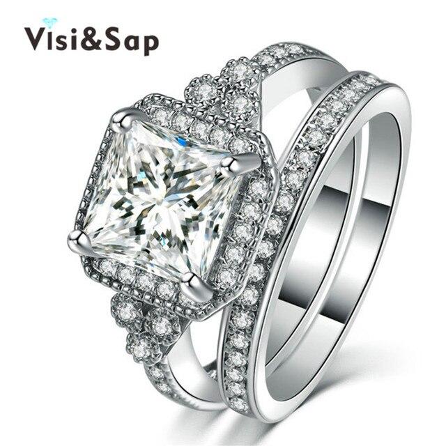 Visisap White Gold color Ring Bridal sets Large Square Stone CZ