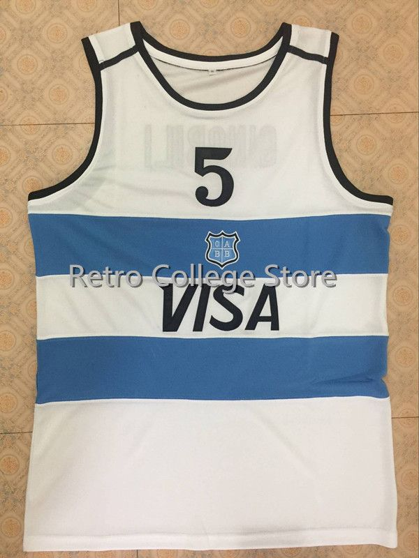 цена на #5 Manu Ginobili Team Argentina Navy Blue Sewn Retro Throwback Basketball Jersey Customize any size number and player name