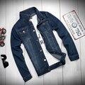 Nueva Moda 2017 Primavera Chaqueta Para Hombre Camisa Masculina del Color del Bule de Mezclilla Vaqueros Chaqueta Abrigo Plus Tamaño 4XL