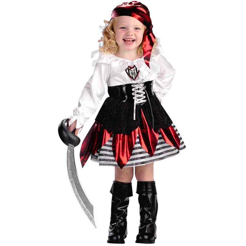 New Design Kids Pirate Costume For Halloween Cosplay Girls Petite Pirate Toddler Costume Party Funny Rubber Costume L15294