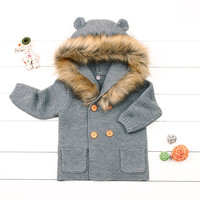 baby girl knitted coat Autumn Winter thick warm coat for 0 24month babies newborn infant sweater coat clothing