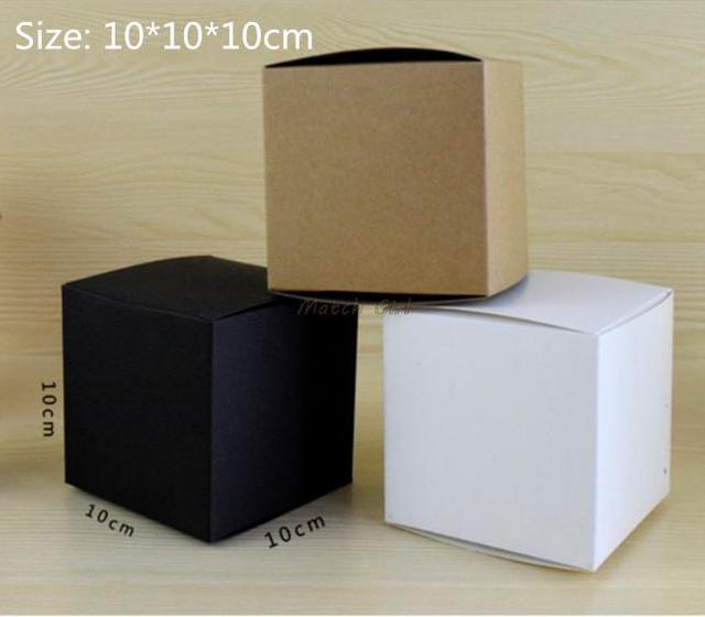 20pcs/lot 10*10*10cm White Black Kraft Gift Box Cosmetic Bottle