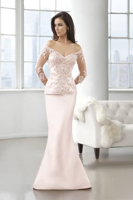 8c65e89cbb2b0 New Blush Pink Long Sleeves Mother Of the Bride Dresses Lace Beaded  Appliques V Neck Long Groom Mother Dress Evening Prom Dress-in Mother of  the Bride ...