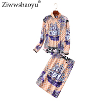 Ziwwshaoyu 2018 autumn runway new two piece Office Lady Turtleneck Print coa+ elegant Half skirt Slim two piece