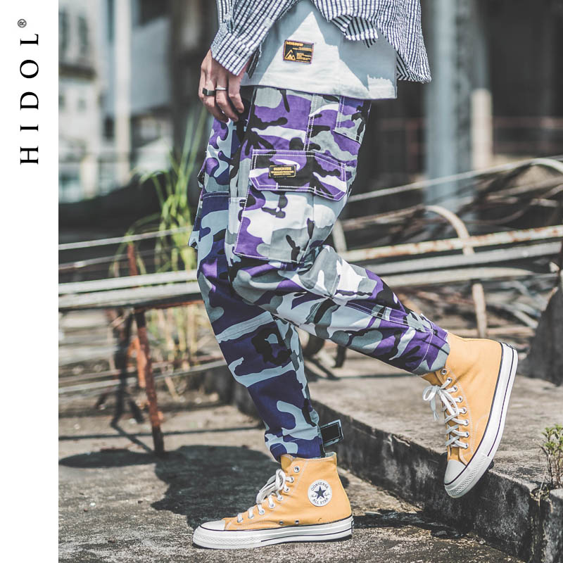 Military Camouflage Cargo Pants Multi-Pocket Jogger Camo Army Track Tactical Trousers Men Hip Hop Swag Streetwear Gray/Purple
