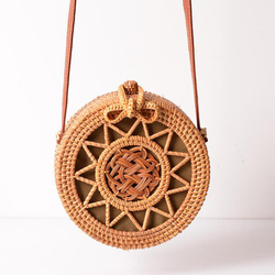 Summer Bali Hand Woven Women Rattan Bag Round Shoulder Crossbody Bags Beach Straw Bag Bohemian Knitting Travel Circular Handbags
