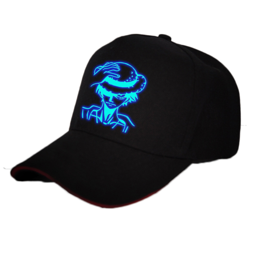 Anime <font><b>One</b></font> <font><b>Piece</b></font> Monkey D <font><b>Luffy</b></font> Cotton Printing Sun Hat Luminous Hat Baseball Cap unisex Accessories Cosplay Hip-Hop Fashion image