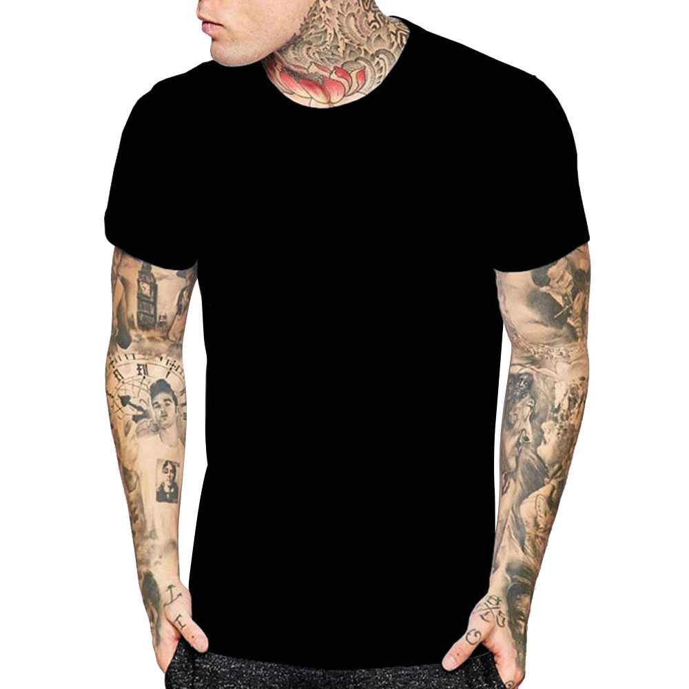 Casual Men T shirt Summer 100% Cotton Short Sleeve T-shirt New 2018 Brand Tops Tees Slim Fit Tshirt Homme Clothing Plus Size 2XL