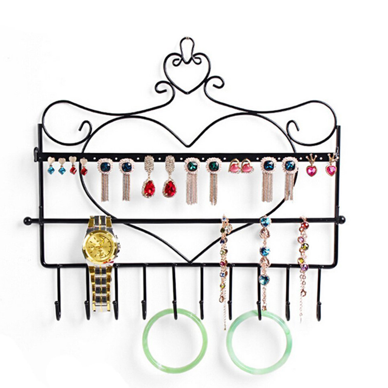 New Wall Mount Heart Shape Jewelry Organizer Hanging Earring Holder