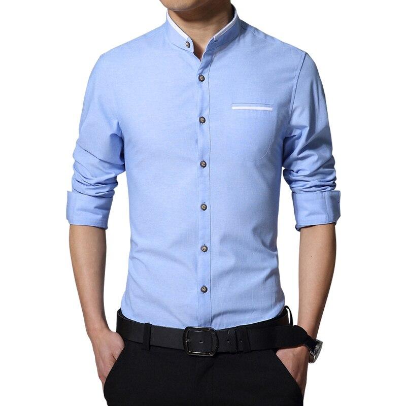 2017 Nouvelle Marque Hommes de Chemise Décontractée À Manches Longues Bandes Col facile Soins Chemises Sans Col Slim Fit Robe Chemise Pour Hommes entreprise