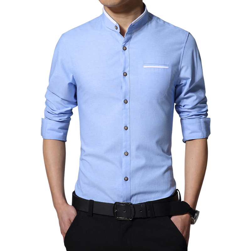 2018 New Brand Män Casual Shirt Långärmad Banded Collar Easy Care Collarless Shirts Slim Fit T-shirt för män