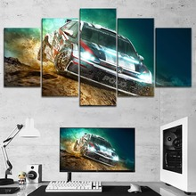 Modern Wall Decor Artwork One Set Modular Top-Rated Canvas Print Type Large Poster 5 Pieces Volkswagen Motorsport Rally Painting