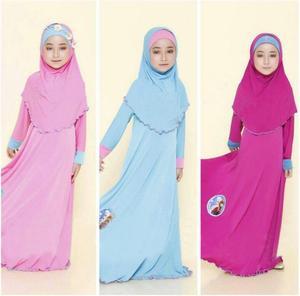Image 1 - tonlinker ramadan Traditional Kids clothing Fashion Child baya Muslim Girl dress abaya islamic big girl Children 3pcs Cosplay