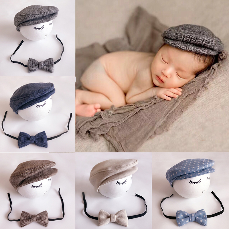 Newborn Baby Peaked Cap Baby Beanie Hat + Bow Tie 2pcs Set Infnat Photography Props Bebe Boy Peak Cap Formal Photo Accessories 6m baby boy hat pants set with tie little gentlemen cap casquette baby boy costumes for photo shooting baby photography props