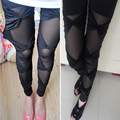 Leggings New 2016 Punk Cotton Cross Bundled Hollow Lace Leggings For Women Stretch Leggins