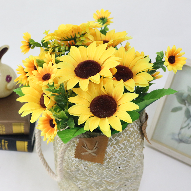 JAROWN Simulation Sunflower Bouquet Artificial Silk Fake Flowers For Home Office Tabletop Decor Wedding Decorations (2)